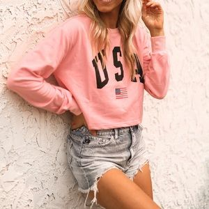 Tops - Pink USA graphic pullover - lightweight NWT